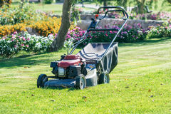 Modern gasoline lawn mower Stock Photos