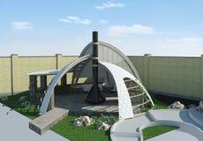 Modern gazebo buiten en in de open lucht het leven gebied, 3D illustratie Royalty-vrije Stock Afbeeldingen