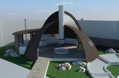 Modern gazebo buiten en in de open lucht het leven gebied, 3D illustratie Stock Foto