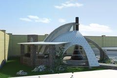 Modern gazebo buiten en in de open lucht het leven gebied, 3D illustratie Royalty-vrije Stock Foto's