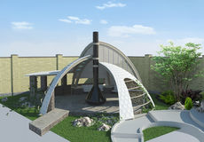 Modern gazebo buiten en in de open lucht het leven gebied, 3D illustratie Royalty-vrije Stock Fotografie