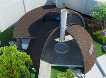 Modern gazebo lucht en in de open lucht het leven gebied, 3D illustratie Stock Afbeelding