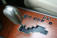 Modern Gear Shift. A view of the new gear shift pattern in a modern car with advanced technology Stock Image