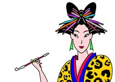 Modern geisha. A modern geisha in colorful fashions stock illustration