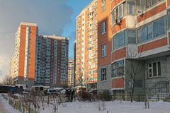 Modern generic apartment house in Moscow Royalty Free Stock Images