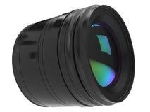 Modern generic black photo camera lens - closeup shot. Isolated on white background Stock Images