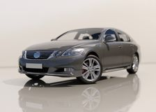 Modern Generic Sedan Car. Perspective View, Isolated on White, 3d Illustration, Car Automobile Contemporary Drive Driving Vehicle Transportation Concept royalty free illustration