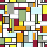 Modern geometric abstraction with color planes and gray lines. Seamless vector pattern. Avant-garde art style. Background with simple shapes - rectangles and Royalty Free Stock Photography
