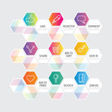 Modern geometric banner button with social icon design options. Stock Photo