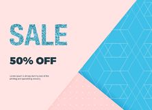 Modern geometric banner with shapes shadows and blue glitter sale. Template for designs card, flyer, invitation, party, mobile app stock illustration