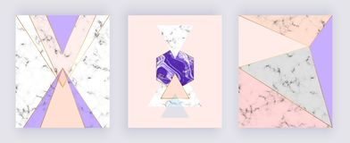 Modern geometric banner with triangles, shapes and marble texture. Gold, purple and pink background. Template for designs, card, f royalty free illustration