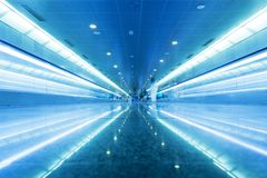 Modern geometric business interior in blue tint. Stock Photography