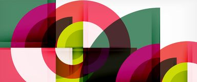 Modern geometric circles abstract background, colorful round shapes with shadow effects. Vector illustration stock illustration