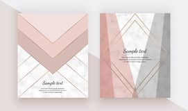 Modern geometric cover design with pink, grey triangles shapes and gold lines on the marble texture. Template for card, flyer, inv. Itation, party, birthday stock illustration