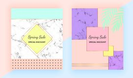 Modern geometric covers design. Colorful, gold lines, memphis style and marble texture. Retro art background, cool bright colors. Templates for invitation vector illustration