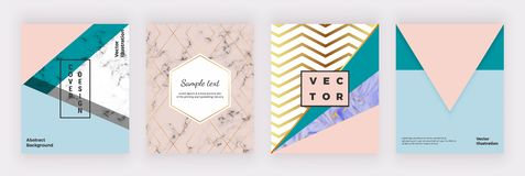 Modern geometric covers design. Triangular shapes, marble texture and golden lines. Templates for poster, brochure vector illustration