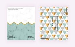 Modern geometric design with marble texture, colorful triangles, glitter lines. Backgrounds for banner, cover, layout, card. Modern geometric design with marble royalty free illustration