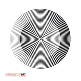 Modern geometric design, minimalistic art. Simple black and white shape in bauhaus style. Halftone concentric spiral. Shape isolated on white background, vector vector illustration