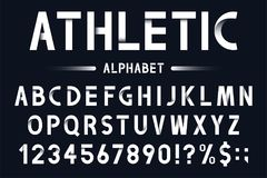 Modern geometric font in origami style. Athletic, sport alphabet with numbers. Vector Stock Photos