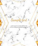 Modern geometric gold lines with marble texture. Background for design banner, card, flyer, invitation, party, birthday, wedding,. Placard, magazine, web royalty free illustration