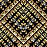 Modern geometric greek key meanders 3d seamless pattern. Vector. Abstract patterned ornate background. Gold tiled restangles, squares, stripes, shapes, rhombus Royalty Free Stock Photos