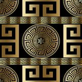 Modern geometric greek seamless pattern. Vector gold meander bac. Kground. 3d wallpaper with greek key ornament. Ornate fabric design. Abstract surface texture royalty free illustration