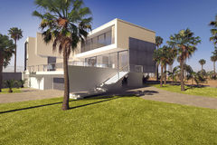 Modern geometric luxury tropical villa. With white washed walls and a landscaped garden with lawns and palm trees, exterior view on a sunny blue sky day royalty free illustration