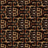 Meander seamless pattern with figured greek key ornaments. Modern geometric meander seamless pattern. Black vector abstract background. Ornamental golden Royalty Free Stock Photo