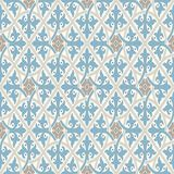 Vintage wallpaper. Modern geometric pattern, inspired by old wallpapers. Nice retro colors - grey beige and calm blue. Modern geometric pattern, inspired by royalty free illustration
