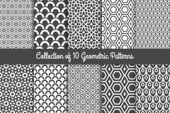 Modern geometric patterns. Geometric patterns. Modern stylish geometric texture black and white monochrome set. Vector illustration royalty free illustration