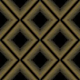 Modern geometric rhombus seamless pattern. Vector abstract black. Background wallpaper with gold 3d radial half tone rhombus, frames, shapes, dotted lines Royalty Free Stock Image