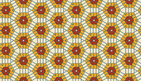 Modern geometric seamless hexagon pattern of orange and red colors Stock Photos