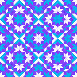 Modern geometric seamless pattern with rhombus, square, triangle and star shapes of blue, violet and white shades Stock Image