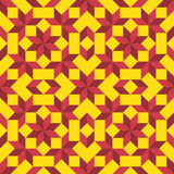 Modern geometric seamless pattern with rhombus and squares of yellow and cherry shades Royalty Free Stock Image