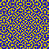 Modern geometric seamless pattern with squares, circles and stars of blue and yellow colors. Abstract modern geometric seamless pattern with squares, circles and vector illustration