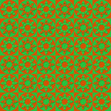 Modern geometric seamless pattern with squares, circles and stars of green and orange colors Stock Photography
