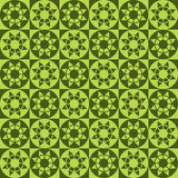 Modern geometric seamless pattern with squares, circles and stars of green shades Stock Photography