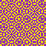 Modern geometric seamless pattern with squares, circles and stars of yellow and violet colors Royalty Free Stock Image
