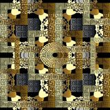 Modern geometric seamless pattern. Vector gold black meander bac. Kground. 3d wallpaper with greek key ornaments. Ornamental floral design. Abstract surface Stock Photography