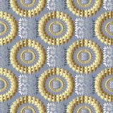 Modern geometric seamless pattern. Vector light meander backgrou. Nd. 3d wallpaper with gold silver greek key ornaments. Ornamental design. Abstract surface Royalty Free Stock Photos
