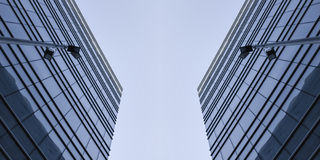 Modern geometric skyscrapers Royalty Free Stock Image