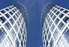 Modern geometric skyscrapers Royalty Free Stock Photography