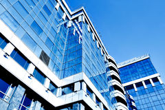 Modern geometric skyscrapers Stock Photo