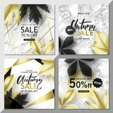 Modern geometric social media banners with golden lines, triangles, autumn leaves,marble texture background. Square. Template for design card, flyer, invitation vector illustration