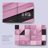 Modern geometric style half-fold template brochure. Modern geometric style half-fold template for business advertising brochure in pink Stock Photography