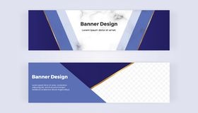 Modern geometric web banners with blue triangular shapes and golden lines on the marble background. Template for designs, business. Card, flyer, invitation stock illustration