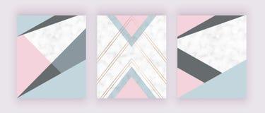 Modern geometrisk räkningsdesign med rosa gråa triangelformer på marmortexturen Bakgrund för kortet, reklamblad, inbjudan, ba stock illustrationer