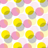 Modern geometry seamless pattern. Vector illustration surface design for print and web. Memphis post-modernist style motif. Pop art repeatable fabric sample Stock Photos
