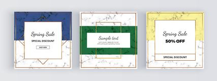 Modern geometry social media banners, marble texture with gold lines, blue, green and yellow background. Square template for desig. Ns, card, flyer, invitation royalty free illustration