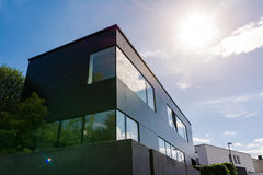 Modern German Architecture Geometric Small Office Building Sun F Royalty Free Stock Photo